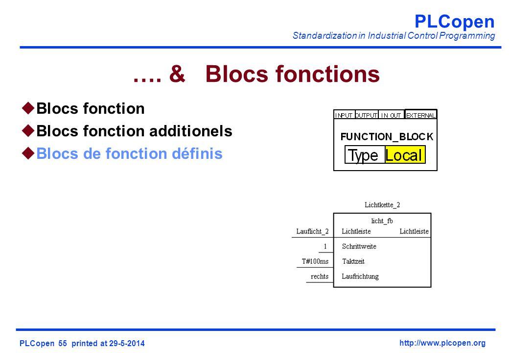 PLCopen Standardization in Industrial Control Programming PLCopen 55 printed at 29-5-2014 http://www.plcopen.org …. & Blocs fonctions uBlocs fonction
