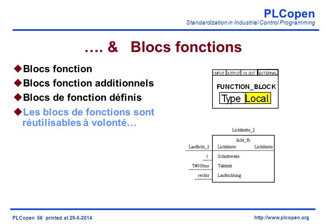 PLCopen Standardization in Industrial Control Programming PLCopen 56 printed at 29-5-2014 http://www.plcopen.org …. & Blocs fonctions uBlocs fonction