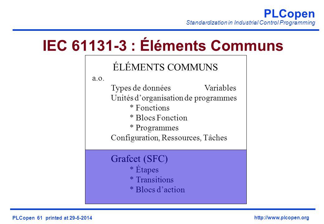 PLCopen Standardization in Industrial Control Programming PLCopen 61 printed at 29-5-2014 http://www.plcopen.org IEC 61131-3 : Éléments Communs ÉLÉMEN