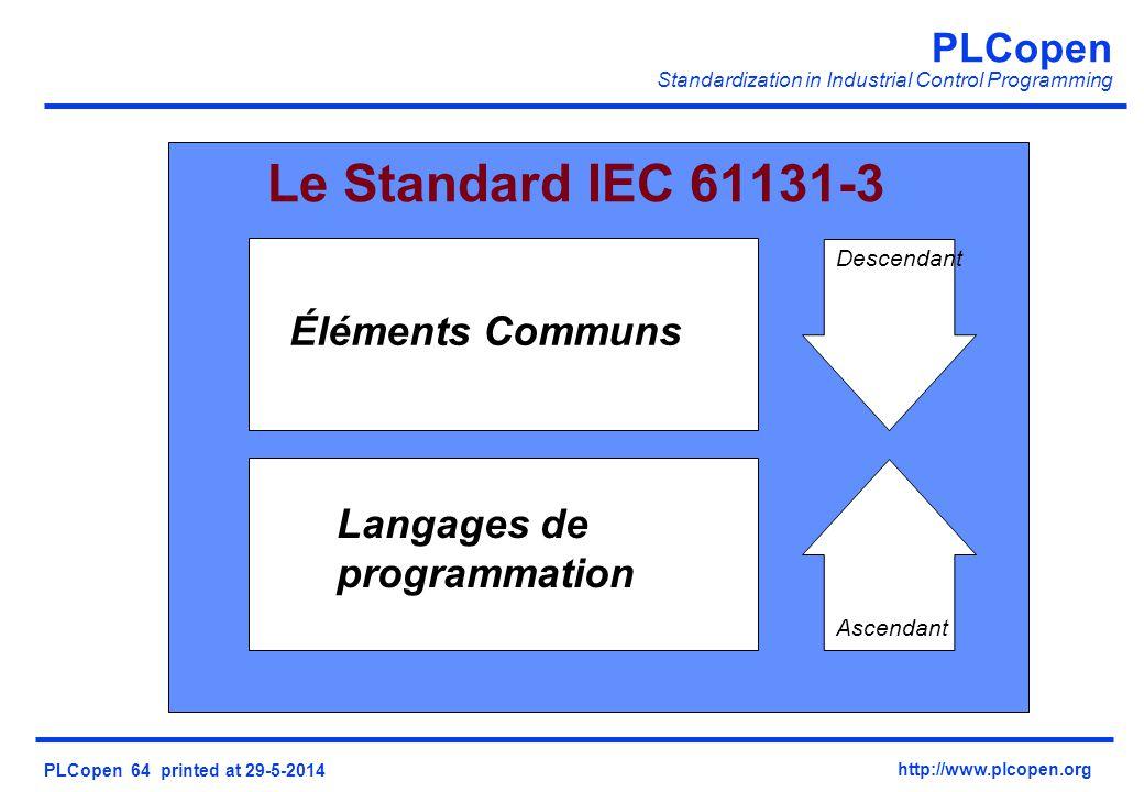 PLCopen Standardization in Industrial Control Programming PLCopen 64 printed at 29-5-2014 http://www.plcopen.org Le Standard IEC 61131-3 Éléments Communs Langages de programmation Descendant Ascendant