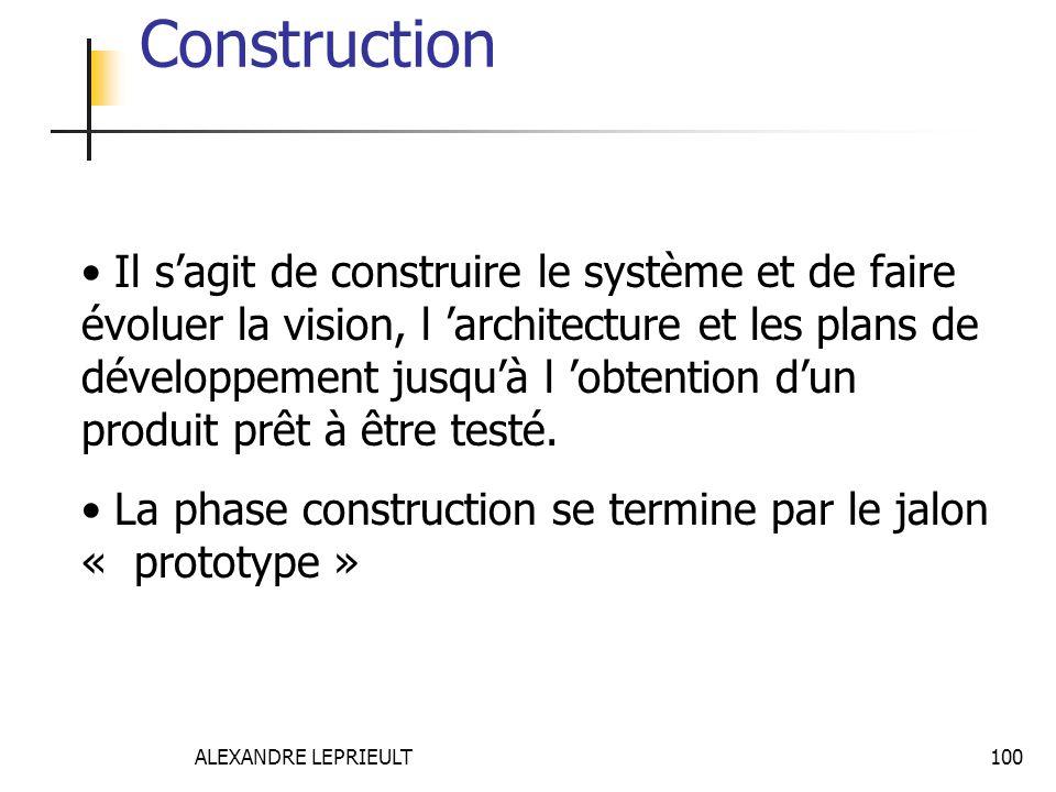 ALEXANDRE LEPRIEULT 100 Construction Il sagit de construire le système et de faire évoluer la vision, l architecture et les plans de développement jus