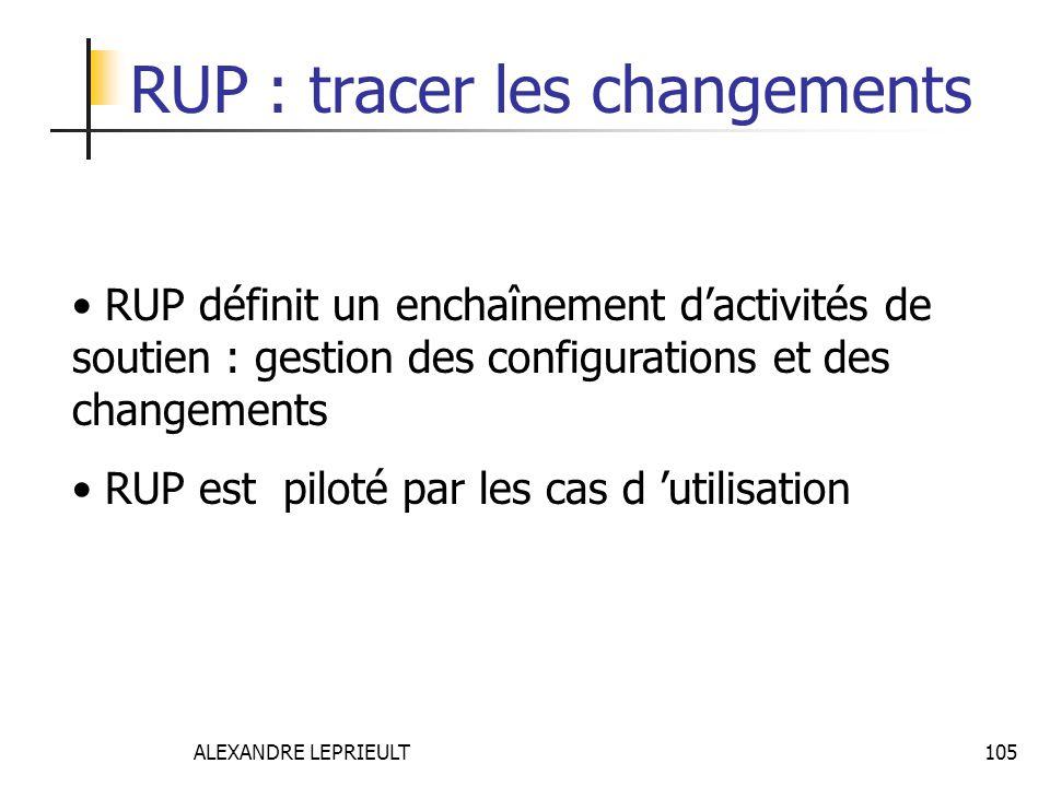 ALEXANDRE LEPRIEULT 105 RUP : tracer les changements RUP définit un enchaînement dactivités de soutien : gestion des configurations et des changements
