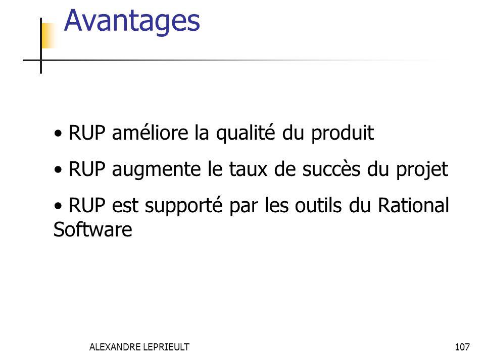 ALEXANDRE LEPRIEULT 107 Avantages RUP améliore la qualité du produit RUP augmente le taux de succès du projet RUP est supporté par les outils du Ratio