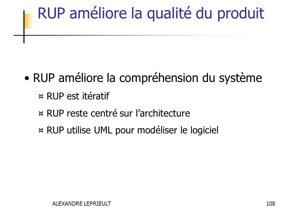 ALEXANDRE LEPRIEULT 108 RUP améliore la qualité du produit RUP améliore la compréhension du système ¤ RUP est itératif ¤ RUP reste centré sur larchite