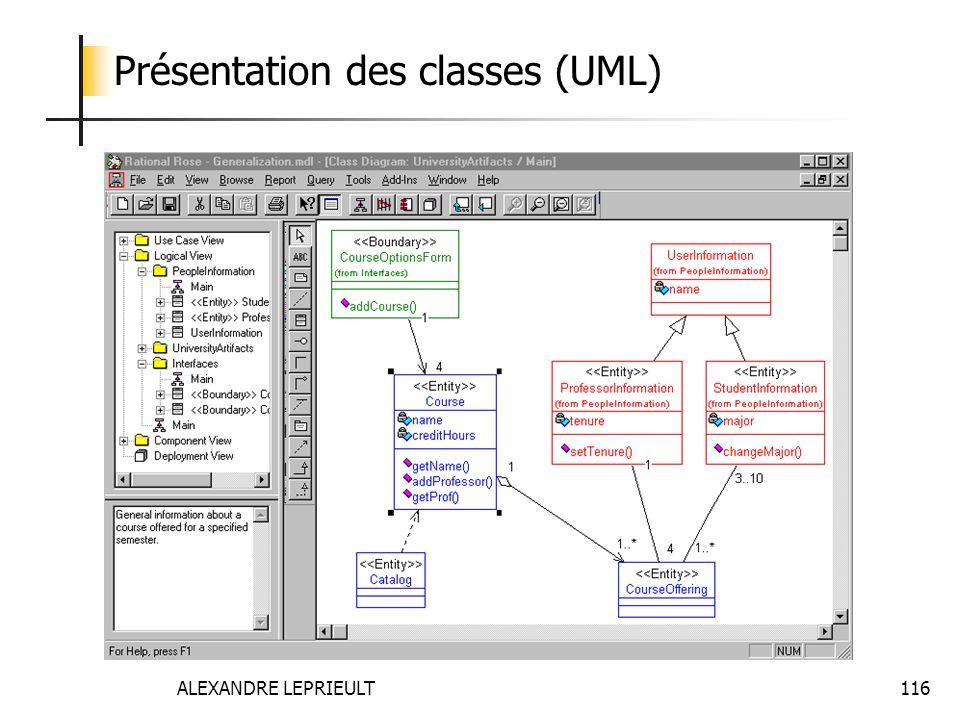ALEXANDRE LEPRIEULT 116 Présentation des classes (UML)