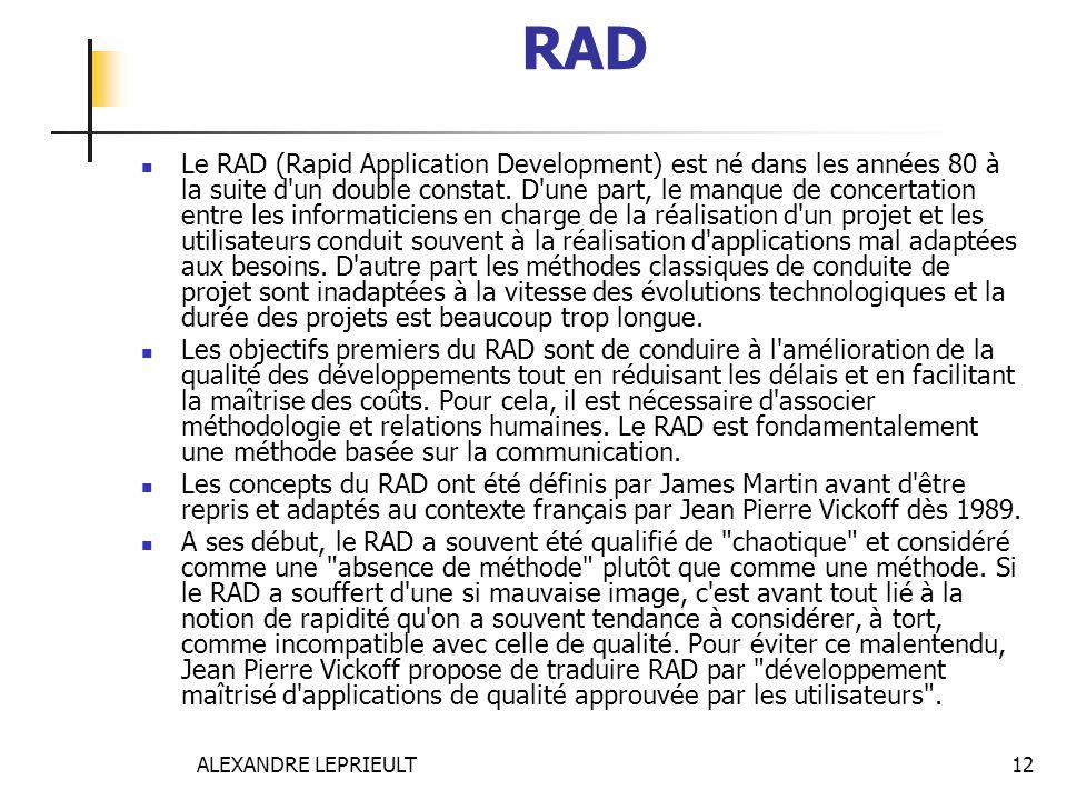 ALEXANDRE LEPRIEULT 12 RAD Le RAD (Rapid Application Development) est né dans les années 80 à la suite d'un double constat. D'une part, le manque de c