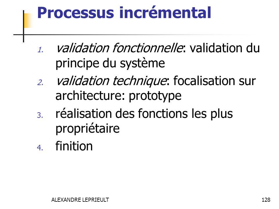 ALEXANDRE LEPRIEULT 128 Processus incrémental 1. validation fonctionnelle: validation du principe du système 2. validation technique: focalisation sur