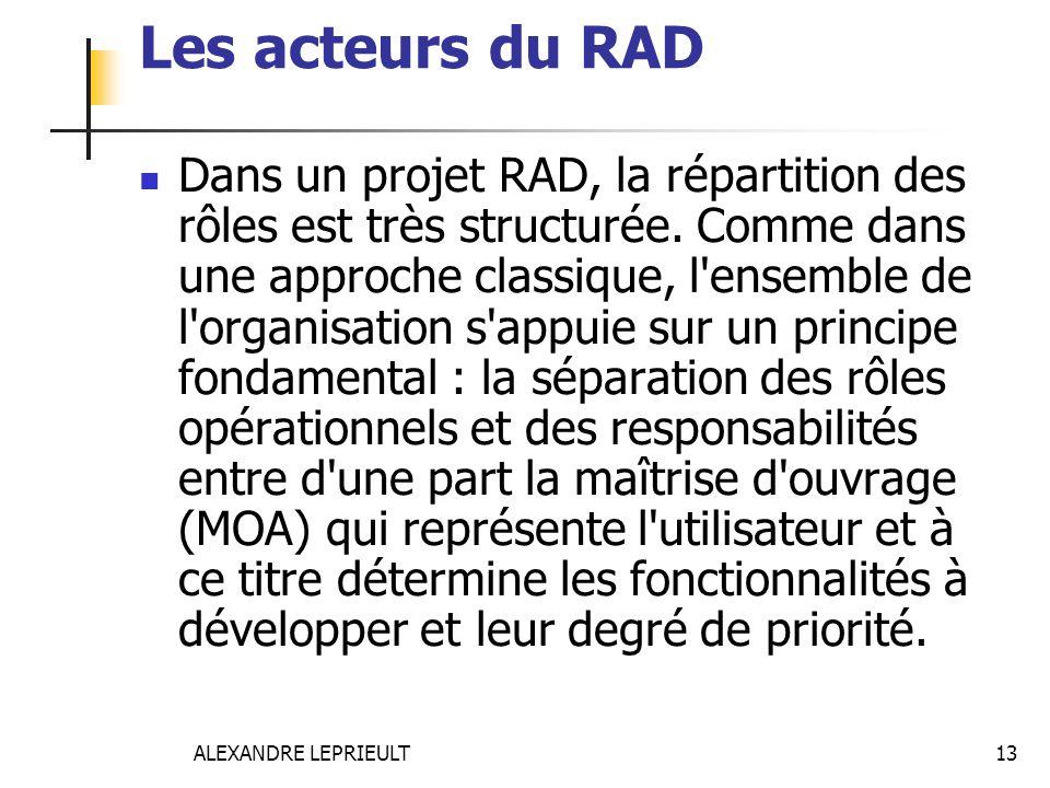 ALEXANDRE LEPRIEULT 13 Les acteurs du RAD Dans un projet RAD, la répartition des rôles est très structurée. Comme dans une approche classique, l'ensem