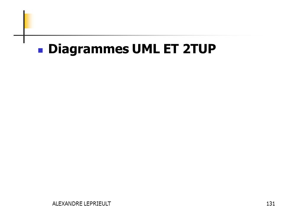 ALEXANDRE LEPRIEULT 131 Diagrammes UML ET 2TUP