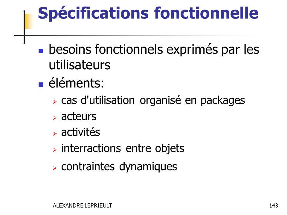 ALEXANDRE LEPRIEULT 143 Spécifications fonctionnelle besoins fonctionnels exprimés par les utilisateurs éléments: cas d'utilisation organisé en packag