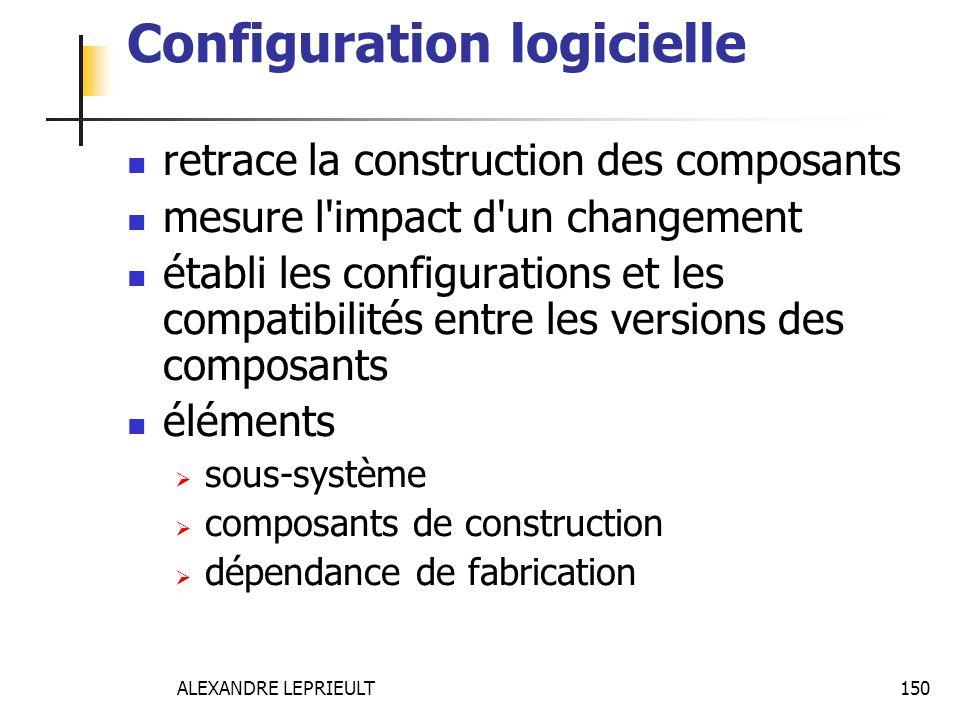 ALEXANDRE LEPRIEULT 150 Configuration logicielle retrace la construction des composants mesure l'impact d'un changement établi les configurations et l