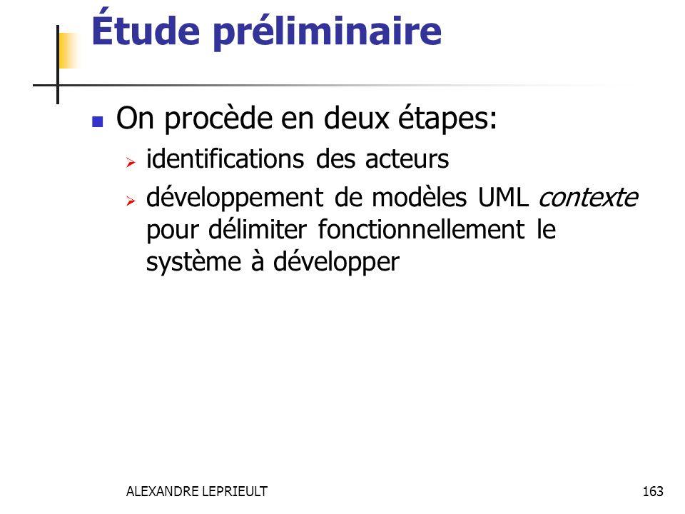 ALEXANDRE LEPRIEULT 163 Étude préliminaire On procède en deux étapes: identifications des acteurs développement de modèles UML contexte pour délimiter