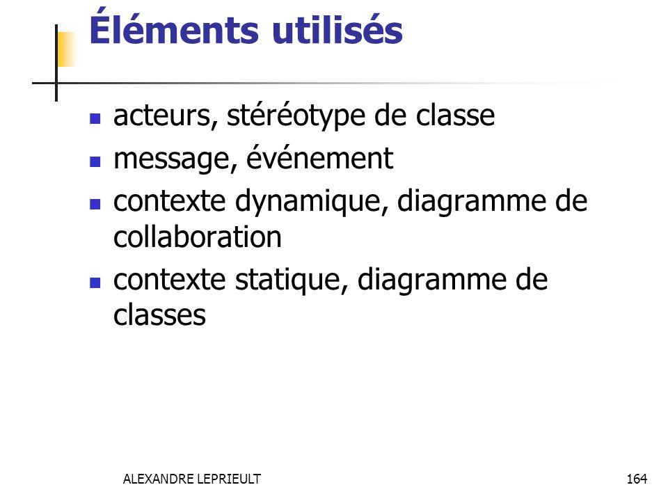 ALEXANDRE LEPRIEULT 164 Éléments utilisés acteurs, stéréotype de classe message, événement contexte dynamique, diagramme de collaboration contexte sta