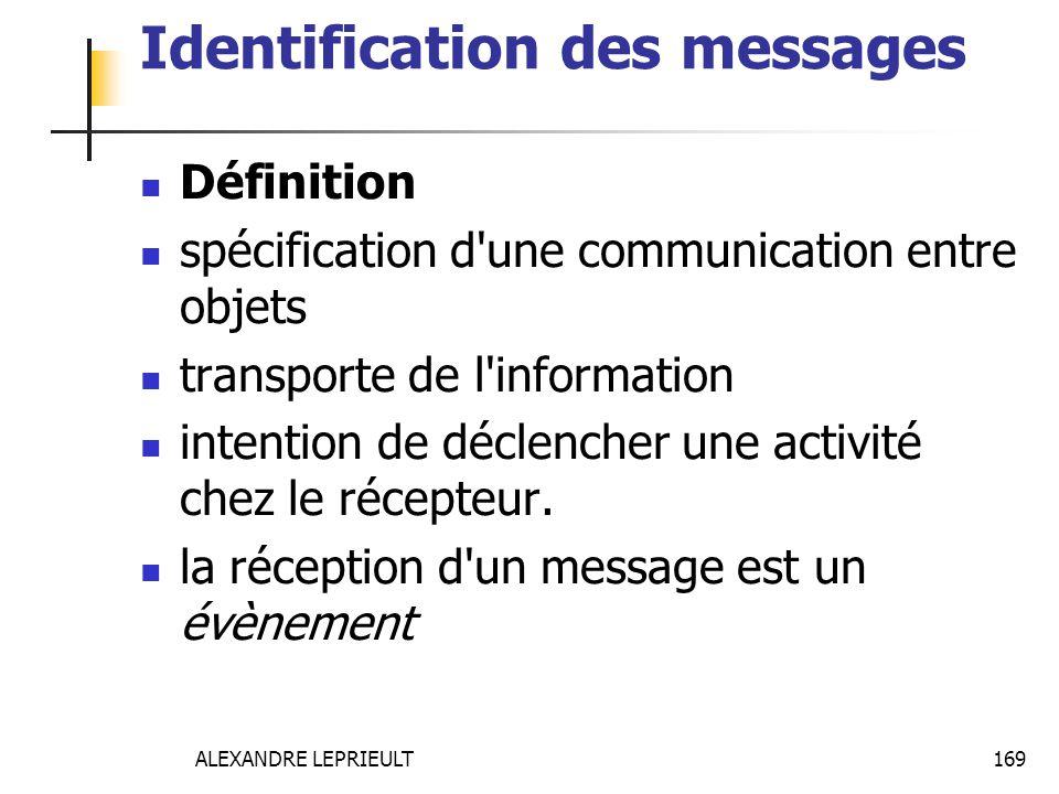 ALEXANDRE LEPRIEULT 169 Identification des messages Définition spécification d'une communication entre objets transporte de l'information intention de