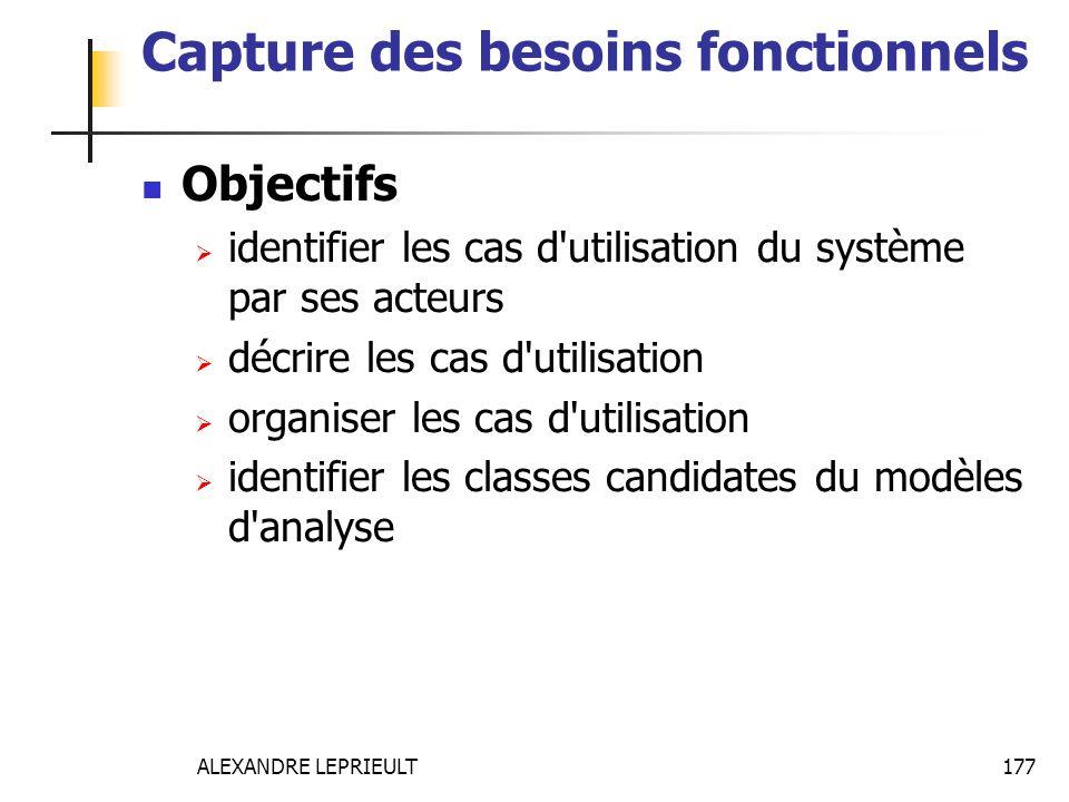 ALEXANDRE LEPRIEULT 177 Capture des besoins fonctionnels Objectifs identifier les cas d'utilisation du système par ses acteurs décrire les cas d'utili