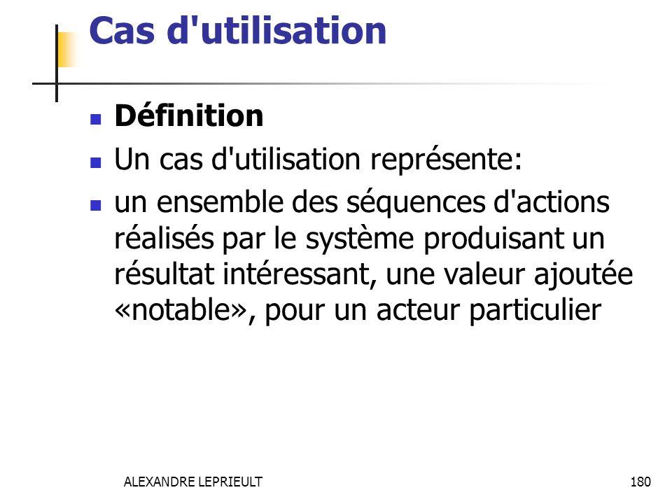 ALEXANDRE LEPRIEULT 180 Cas d'utilisation Définition Un cas d'utilisation représente: un ensemble des séquences d'actions réalisés par le système prod