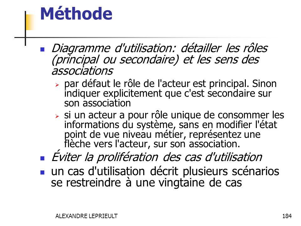 ALEXANDRE LEPRIEULT 184 Méthode Diagramme d'utilisation: détailler les rôles (principal ou secondaire) et les sens des associations par défaut le rôle