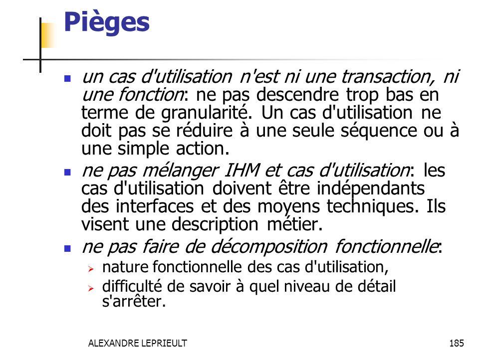 ALEXANDRE LEPRIEULT 185 Pièges un cas d'utilisation n'est ni une transaction, ni une fonction: ne pas descendre trop bas en terme de granularité. Un c