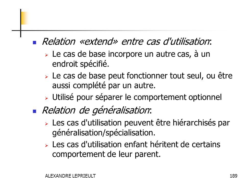ALEXANDRE LEPRIEULT 189 Relation «extend» entre cas d'utilisation: Le cas de base incorpore un autre cas, à un endroit spécifié. Le cas de base peut f