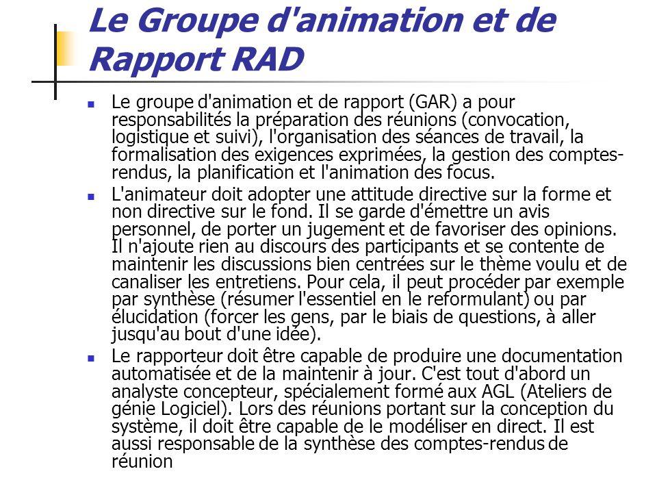 ALEXANDRE LEPRIEULT 19 Le Groupe d'animation et de Rapport RAD Le groupe d'animation et de rapport (GAR) a pour responsabilités la préparation des réu