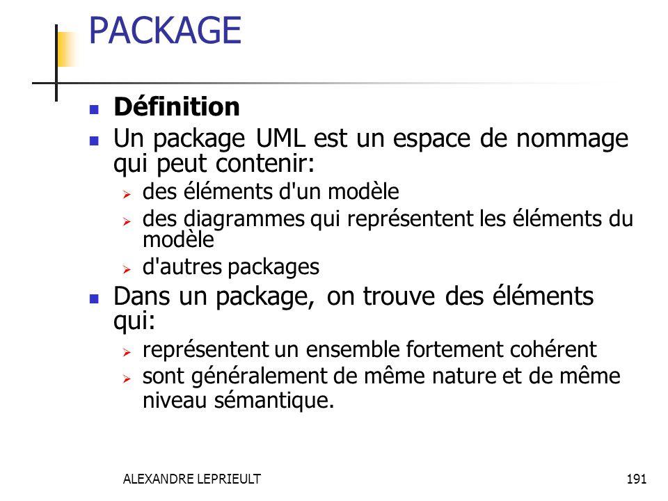 ALEXANDRE LEPRIEULT 191 PACKAGE Définition Un package UML est un espace de nommage qui peut contenir: des éléments d'un modèle des diagrammes qui repr