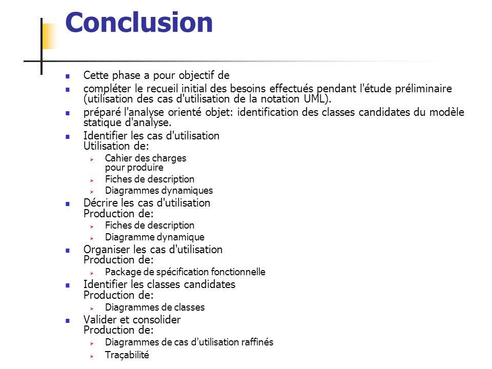 ALEXANDRE LEPRIEULT 198 Conclusion Cette phase a pour objectif de compléter le recueil initial des besoins effectués pendant l'étude préliminaire (uti