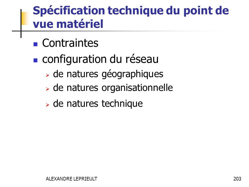 ALEXANDRE LEPRIEULT 203 Spécification technique du point de vue matériel Contraintes configuration du réseau de natures géographiques de natures organ