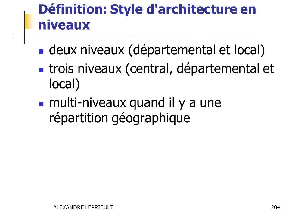 ALEXANDRE LEPRIEULT 204 Définition: Style d'architecture en niveaux deux niveaux (départemental et local) trois niveaux (central, départemental et loc