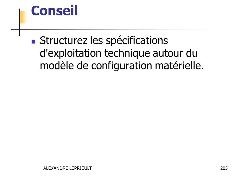 ALEXANDRE LEPRIEULT 205 Conseil Structurez les spécifications d'exploitation technique autour du modèle de configuration matérielle.