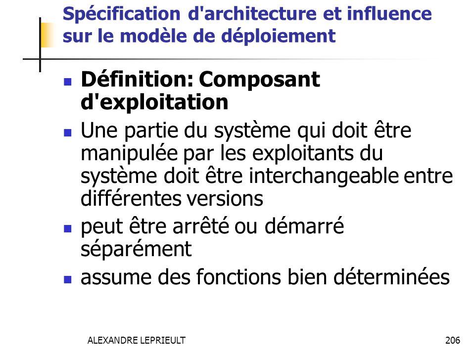 ALEXANDRE LEPRIEULT 206 Spécification d'architecture et influence sur le modèle de déploiement Définition: Composant d'exploitation Une partie du syst