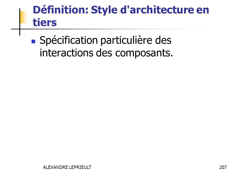 ALEXANDRE LEPRIEULT 207 Définition: Style d'architecture en tiers Spécification particulière des interactions des composants.