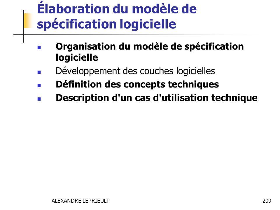 ALEXANDRE LEPRIEULT 209 Élaboration du modèle de spécification logicielle Organisation du modèle de spécification logicielle Développement des couches