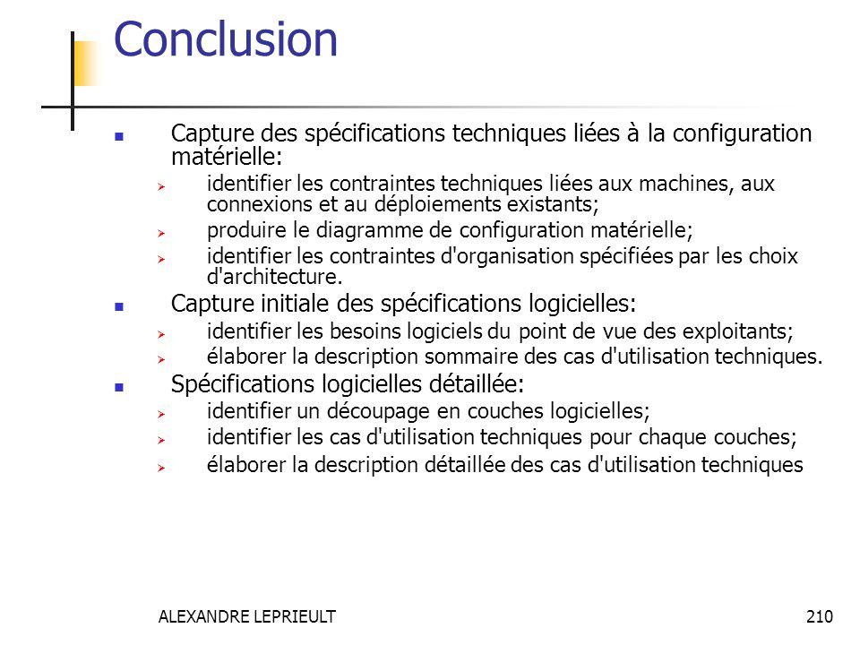 ALEXANDRE LEPRIEULT 210 Conclusion Capture des spécifications techniques liées à la configuration matérielle: identifier les contraintes techniques li