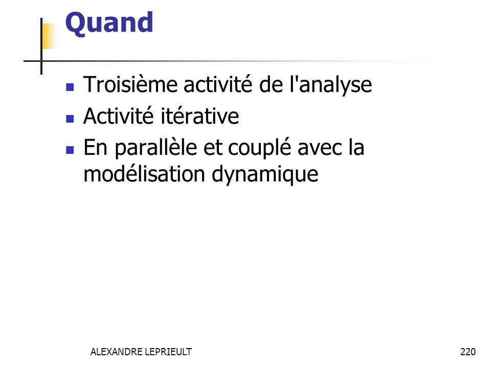 ALEXANDRE LEPRIEULT 220 Quand Troisième activité de l'analyse Activité itérative En parallèle et couplé avec la modélisation dynamique