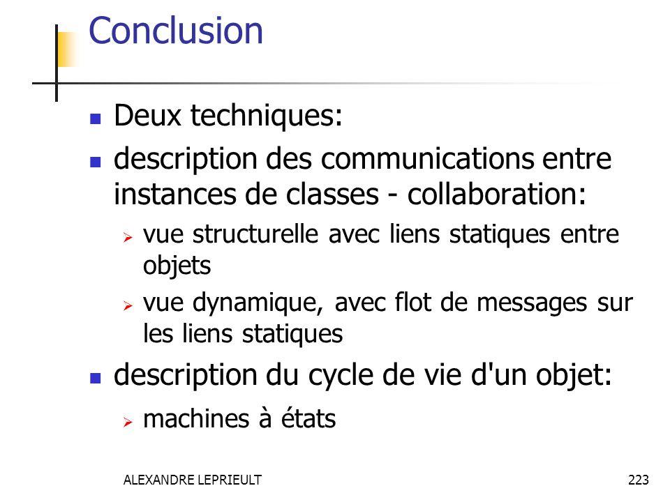 ALEXANDRE LEPRIEULT 223 Conclusion Deux techniques: description des communications entre instances de classes - collaboration: vue structurelle avec l