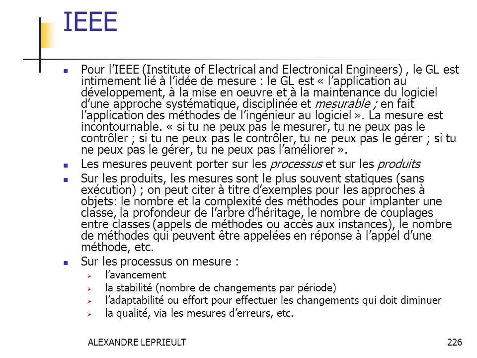 ALEXANDRE LEPRIEULT 226 IEEE Pour lIEEE (Institute of Electrical and Electronical Engineers), le GL est intimement lié à lidée de mesure : le GL est «