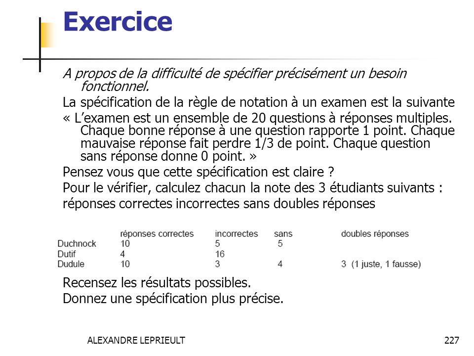 ALEXANDRE LEPRIEULT 227 Exercice A propos de la difficulté de spécifier précisément un besoin fonctionnel. La spécification de la règle de notation à