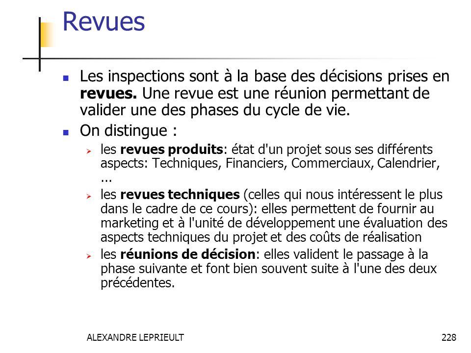 ALEXANDRE LEPRIEULT 228 Revues Les inspections sont à la base des décisions prises en revues. Une revue est une réunion permettant de valider une des