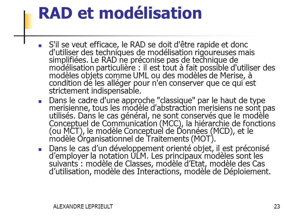 ALEXANDRE LEPRIEULT 23 RAD et modélisation S'il se veut efficace, le RAD se doit d'être rapide et donc d'utiliser des techniques de modélisation rigou