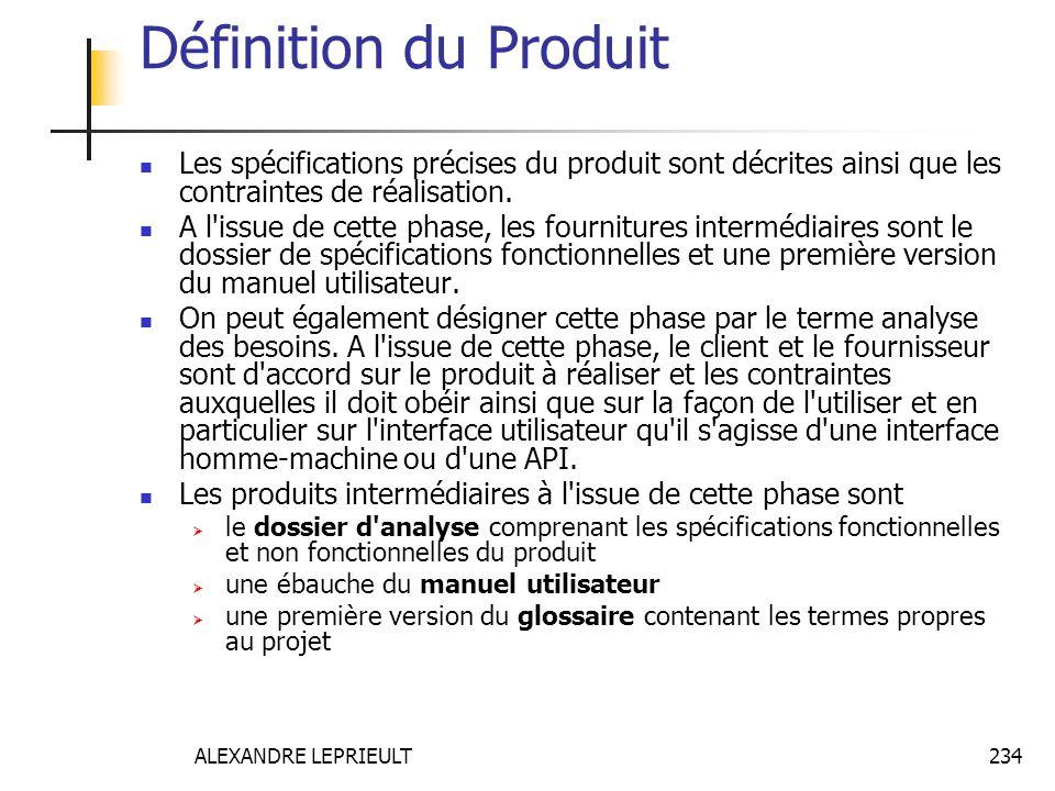 ALEXANDRE LEPRIEULT 234 Définition du Produit Les spécifications précises du produit sont décrites ainsi que les contraintes de réalisation. A l'issue