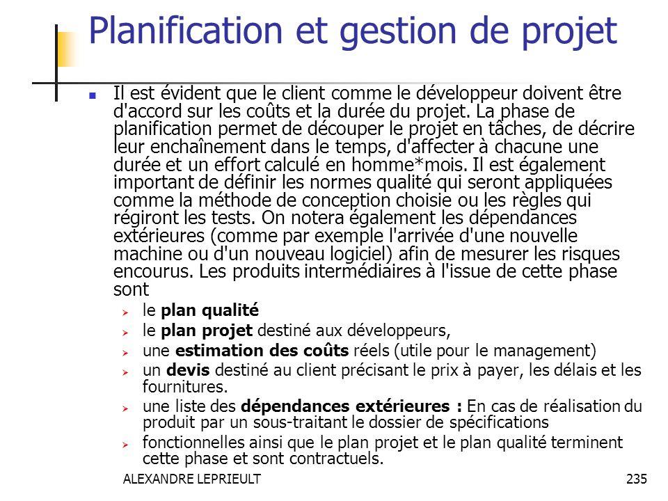 ALEXANDRE LEPRIEULT 235 Planification et gestion de projet Il est évident que le client comme le développeur doivent être d'accord sur les coûts et la