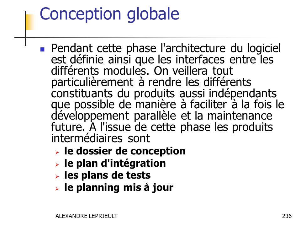 ALEXANDRE LEPRIEULT 236 Conception globale Pendant cette phase l'architecture du logiciel est définie ainsi que les interfaces entre les différents mo