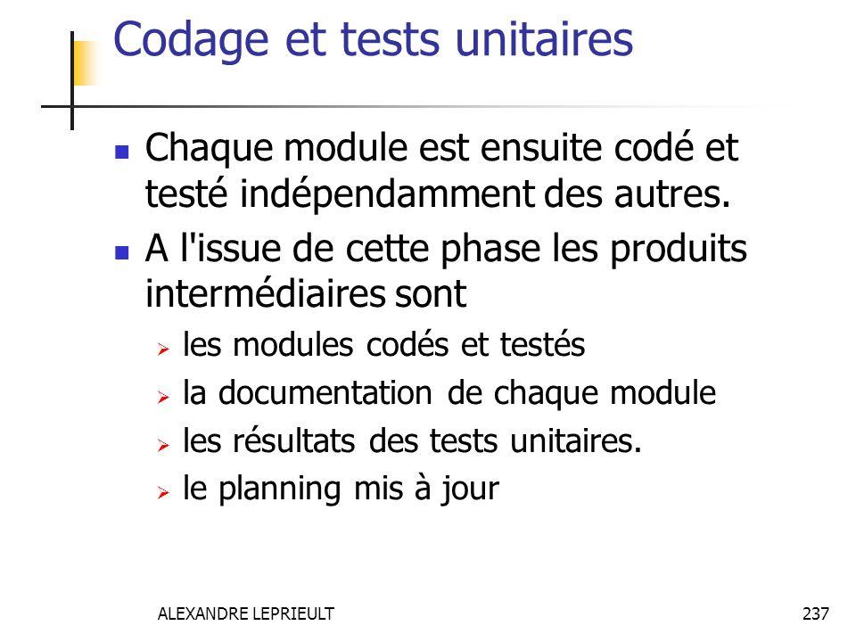 ALEXANDRE LEPRIEULT 237 Codage et tests unitaires Chaque module est ensuite codé et testé indépendamment des autres. A l'issue de cette phase les prod