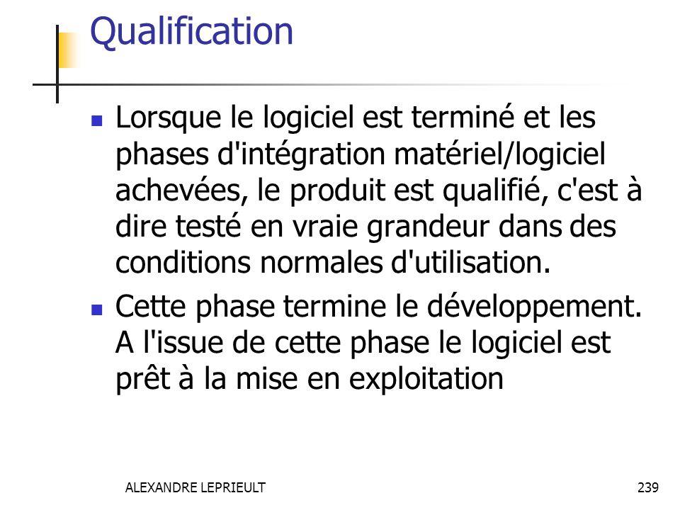 ALEXANDRE LEPRIEULT 239 Qualification Lorsque le logiciel est terminé et les phases d'intégration matériel/logiciel achevées, le produit est qualifié,