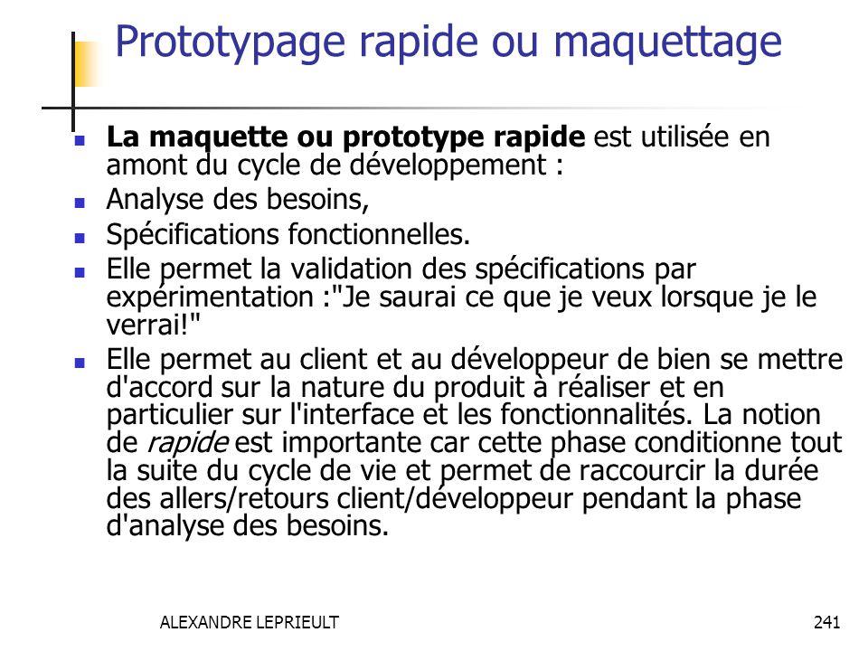 ALEXANDRE LEPRIEULT 241 Prototypage rapide ou maquettage La maquette ou prototype rapide est utilisée en amont du cycle de développement : Analyse des