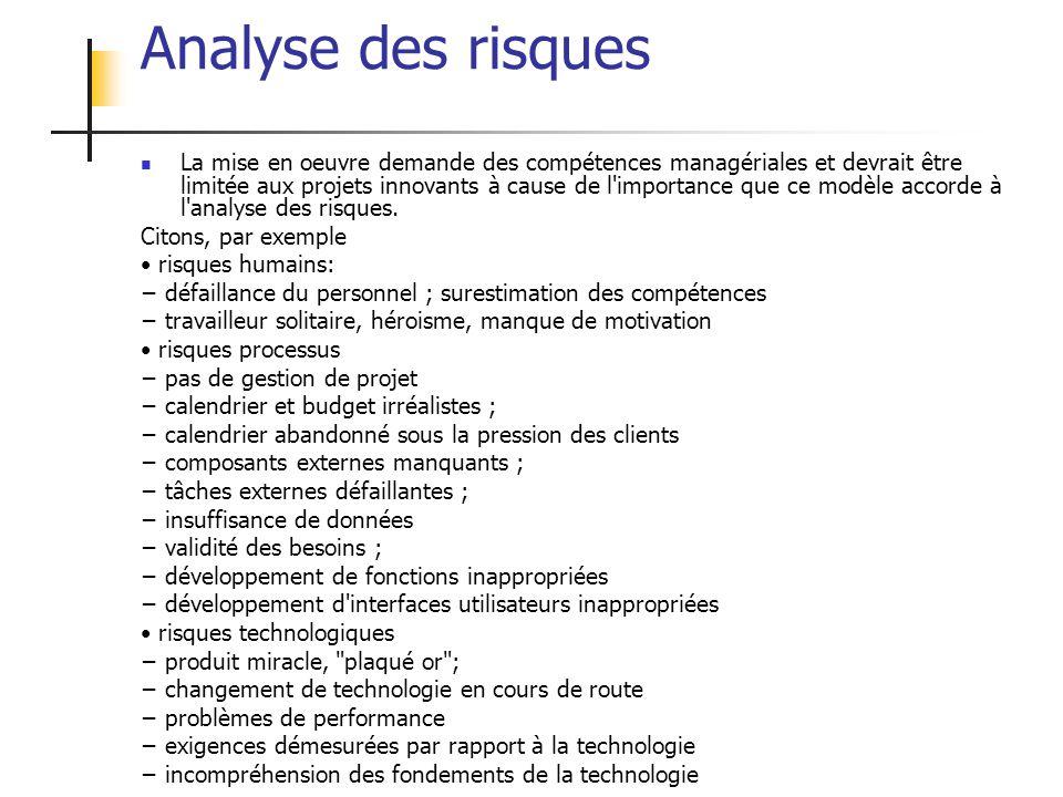 ALEXANDRE LEPRIEULT 244 Analyse des risques La mise en oeuvre demande des compétences managériales et devrait être limitée aux projets innovants à cau