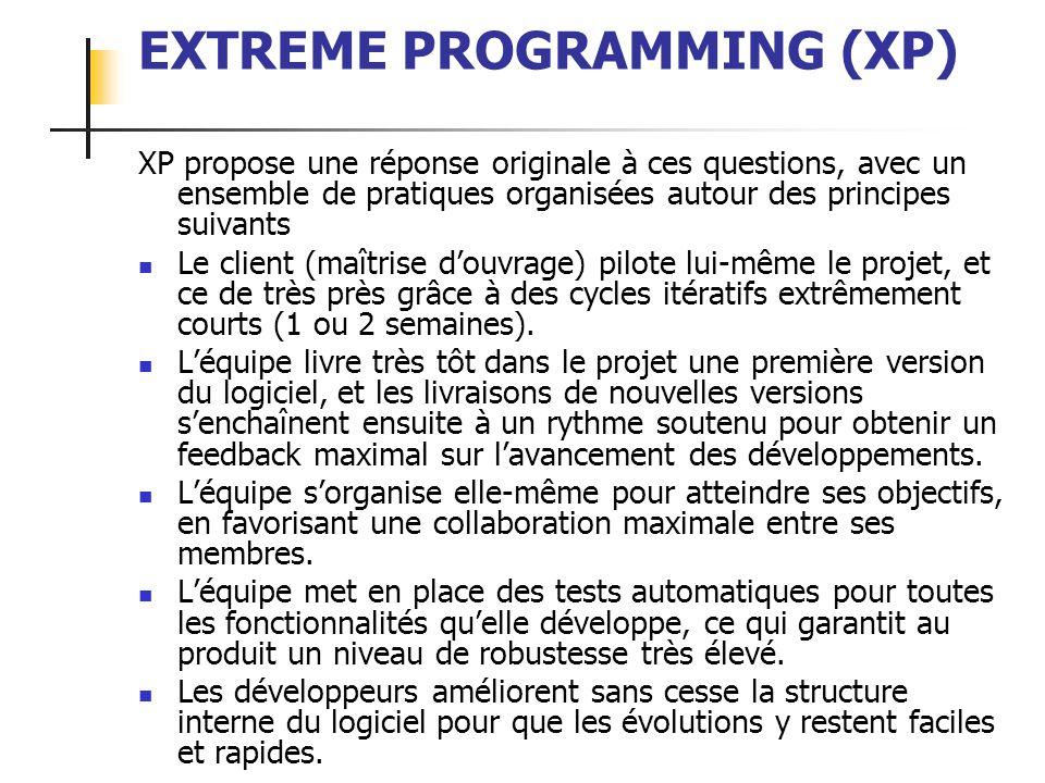 ALEXANDRE LEPRIEULT 25 EXTREME PROGRAMMING (XP) XP propose une réponse originale à ces questions, avec un ensemble de pratiques organisées autour des