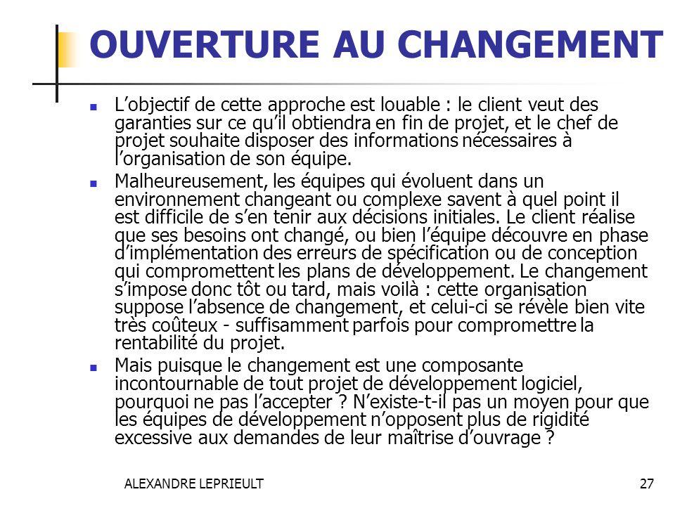 ALEXANDRE LEPRIEULT 27 OUVERTURE AU CHANGEMENT Lobjectif de cette approche est louable : le client veut des garanties sur ce quil obtiendra en fin de