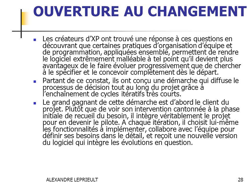 ALEXANDRE LEPRIEULT 28 OUVERTURE AU CHANGEMENT Les créateurs dXP ont trouvé une réponse à ces questions en découvrant que certaines pratiques dorganis