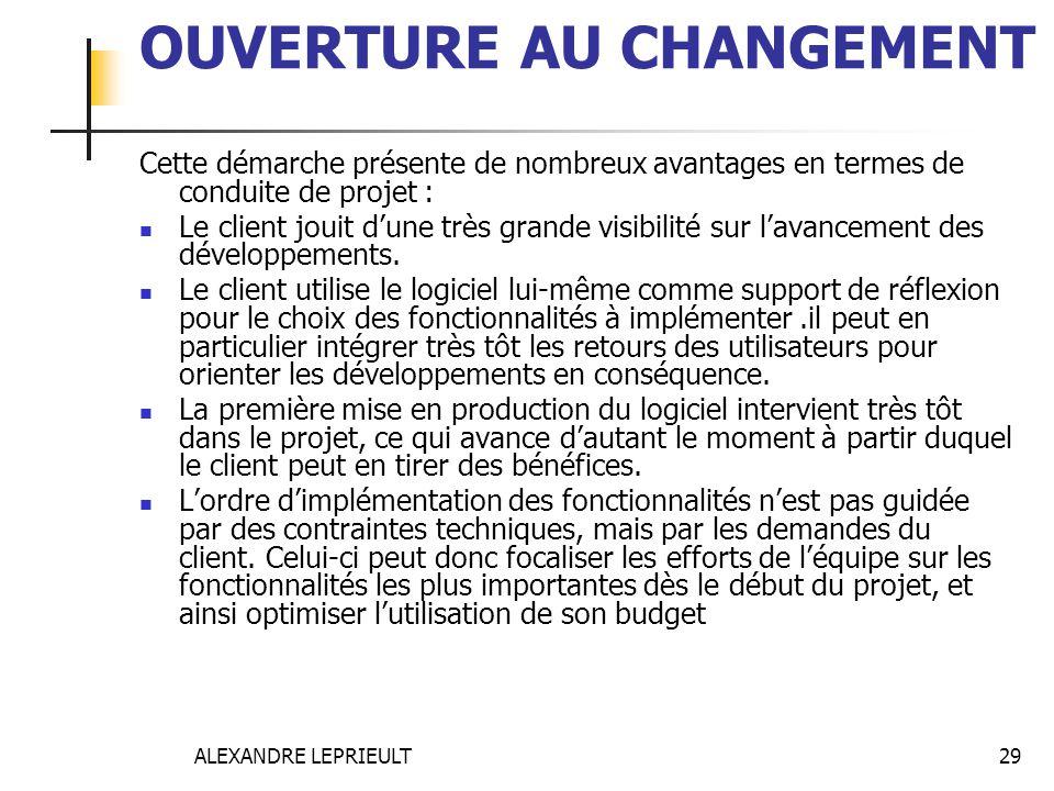 ALEXANDRE LEPRIEULT 29 OUVERTURE AU CHANGEMENT Cette démarche présente de nombreux avantages en termes de conduite de projet : Le client jouit dune tr